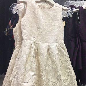 Sleeveless Metallic Jacquard Cut-Out Back Dress